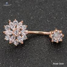 14G сексуальные женские Кристальные серьги для пирсинга живота Nombril из розового золота-гантели, хирургические стальные пупковые кольца для п...(Китай)