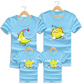 2016 Hot Sale Summer Family Looks Mother Father Baby Cotton Beach Short sleeved T shirt Cartoon