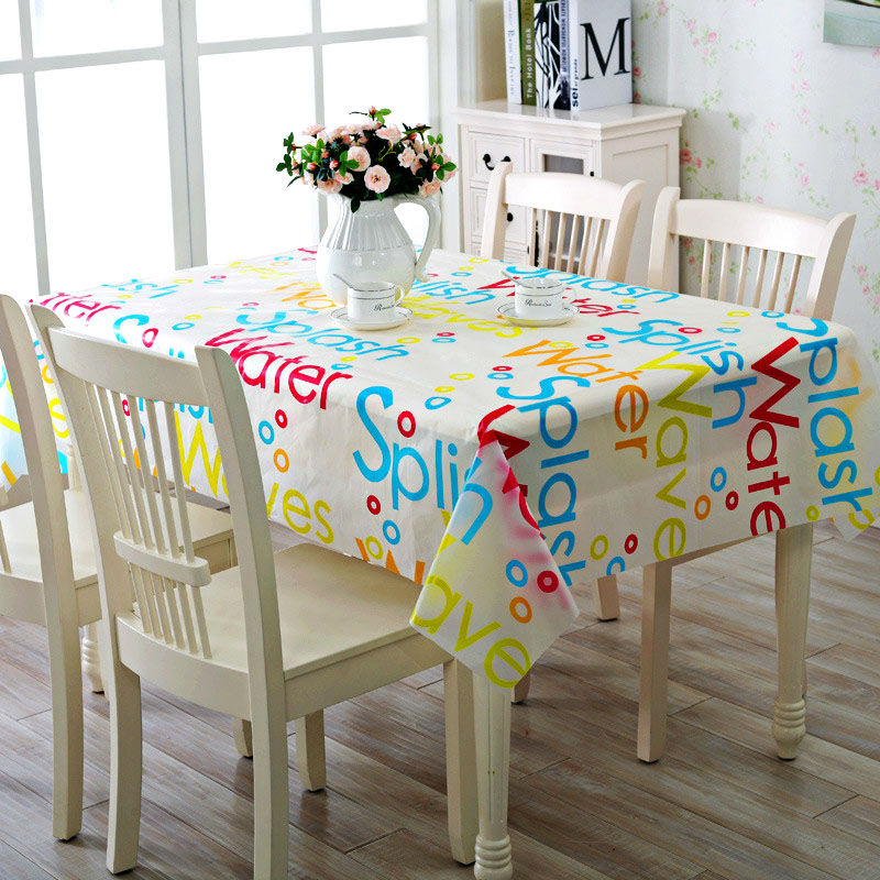 PVC Vinyl Tablecloth Colorful Fashion Rectangular Wipe