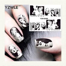 YZWLE 1 Folha DIY Decalques de Impressão de Transferência da Água Adesivos de Unhas Arte Acessórios Para Salão de Manicure YZW-8486