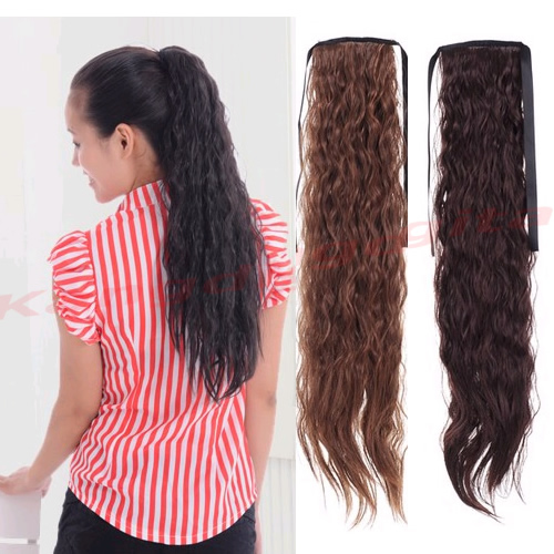 F85 бесплатная доставка женская симпатичные синтетические длинные волнистые хвост прекрасные наращивание волос 3 цвета