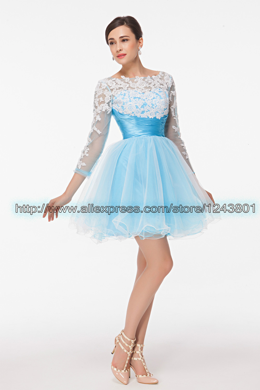 bbfc31af8028 Long Sleeve Lace Short Prom Dress – DACC