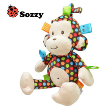 2015 Baby Rattle Toys/Sozzy Polka Dot Monkey Pull Bell Plush Toys/Infant Appease Dolls/Boy Girl Baby Puzzle Toys/Free Shipping