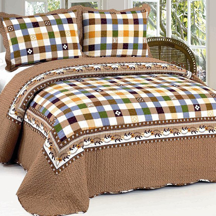American Country Style 100 Cotton Quilted Bedspreads 3pcs