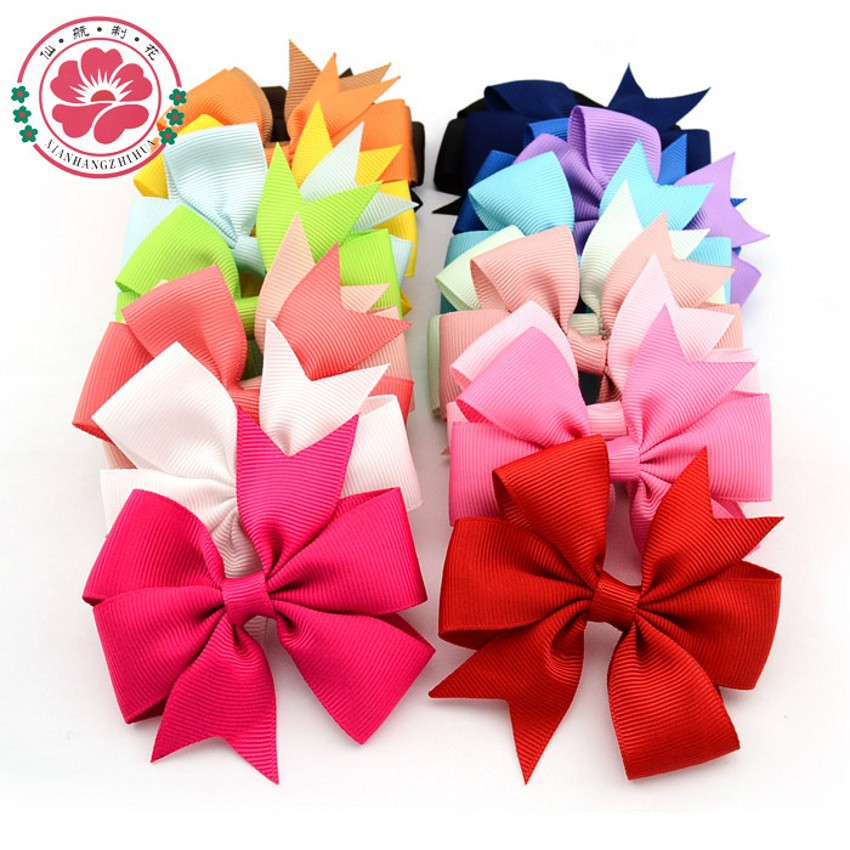 Handmade baby V ribbed ribbon bow hairpin hair bows 20 colors for choose