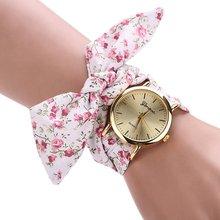 New design senhoras flor Fbric relógio de pulso moda mulheres vestido relógio de alta qualidade doce relógio feminino meninas relógio