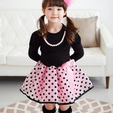 2016 New arrival Baby Girls Princess font b dress b font long sleeve Polka Dot Plaid