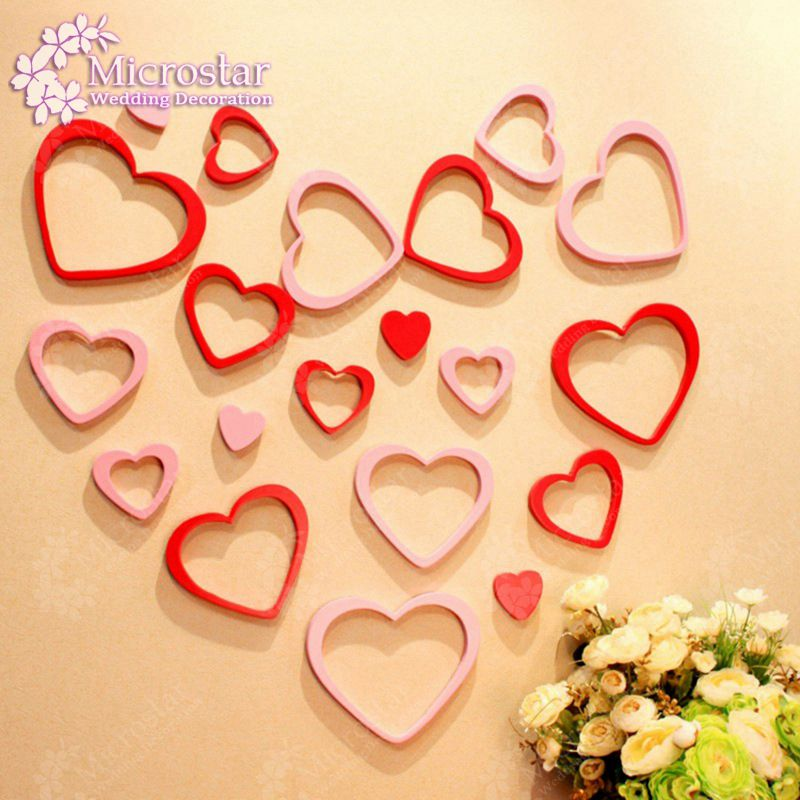 1Set 5pcs Wall Stickers Home Decor Wood Craft Heart Shape 3d Wall Sticker For Kids Rooms Decorative Supplies