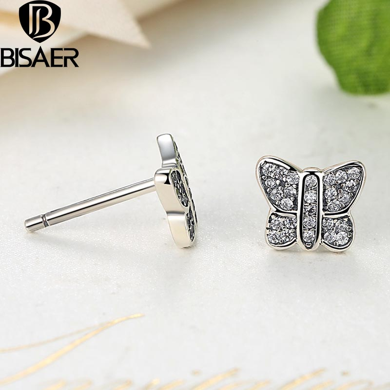 Pandora Butterfly Earrings: BISAER Presents 925 Sterling Silver Sparkling Butterfly