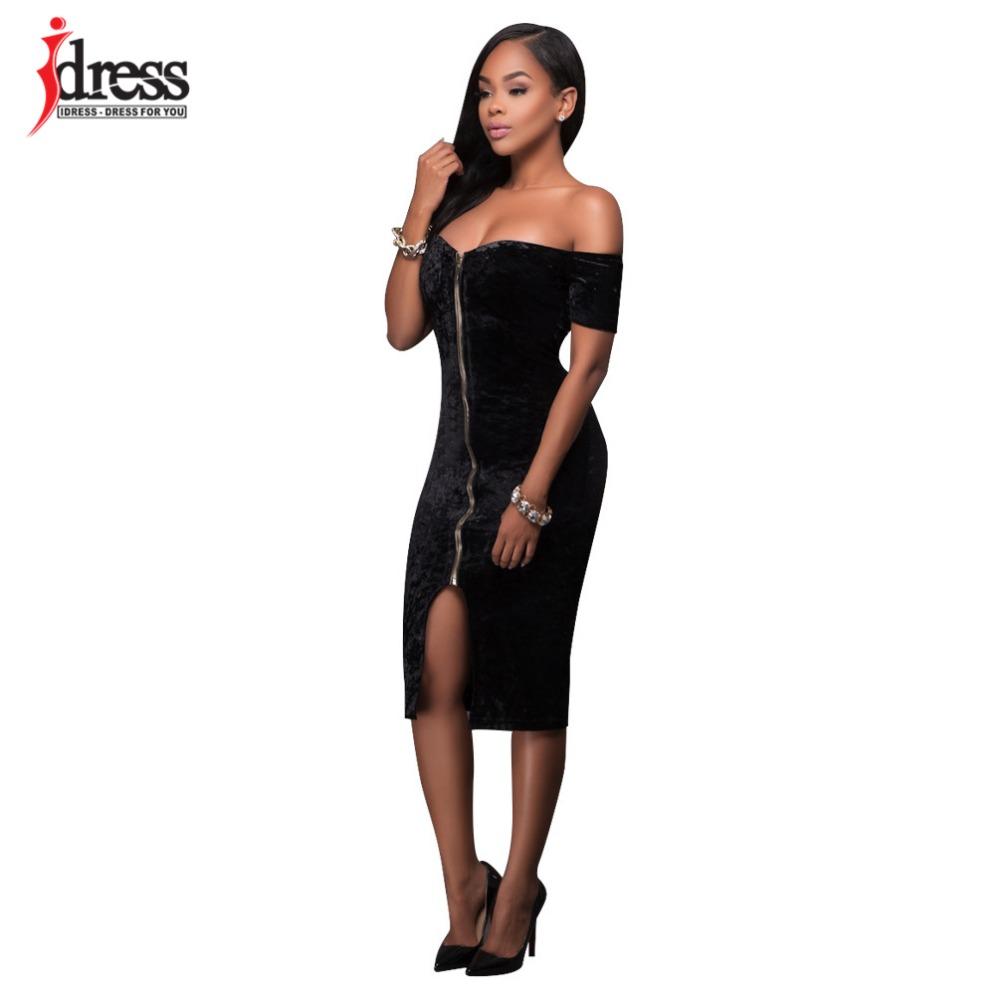 3684ab8aae1 ... IDress 2017 Winter Velvet Dress Sexy Women Short Sleeve Strapless Backless  Bodycon Bandage Dress Zip Spilt ...