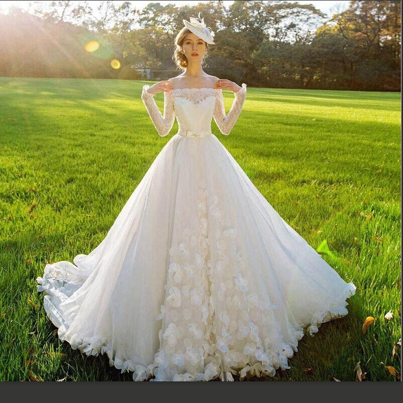 Garden Wedding Gowns: 2015 Wedding Dresses Off The Shoulder Long Sleeve Real