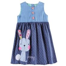 Meninas vestem roupas das meninas nova crianças roupas de verão vestidos casuais para meninas apliques de coelho sem mangas roupa das crianças H6295