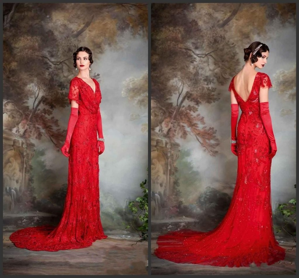 Vintage Wedding Dresses Red: 2015 Red Vintage Wedding Dresses With Sleeves Sheath V