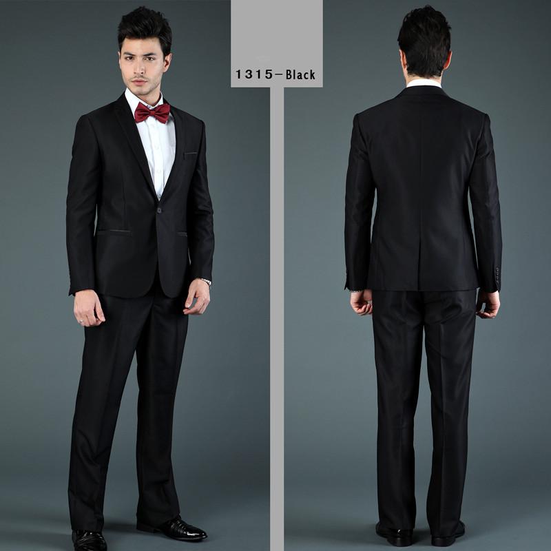 Черный одна кнопка мужские деловые костюмы модное платье костюмы с брюки S-XXXL