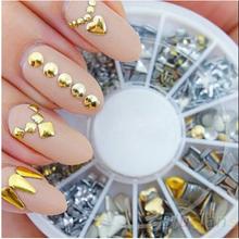 6 Styles Silver/Gold Nail Art 3D Glitter Rhinestones Gems Decoration Round Wheel Stickers Square Punk Rivet
