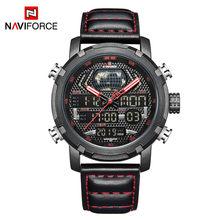 NAVIFORCE мужские часы класса люкс, Брендовые мужские кожаные спортивные часы, мужские Кварцевые светодиодные цифровые часы, водонепроницаемые...(Китай)