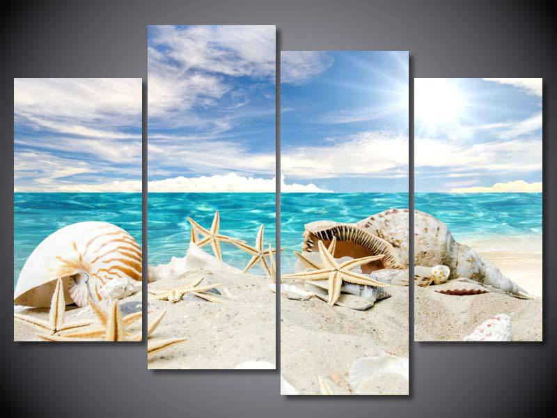 4 Panel Free shipping Beach shells print painting on canvas Wall Art Picture Home Decoration/we318