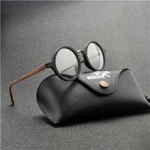 Ручной работы круглые очки кадр Для мужчин прозрачные линзы ретро деревянные оправы очков Для мужчин s ацетат оптически прозрачный Eyeware FML(Китай)