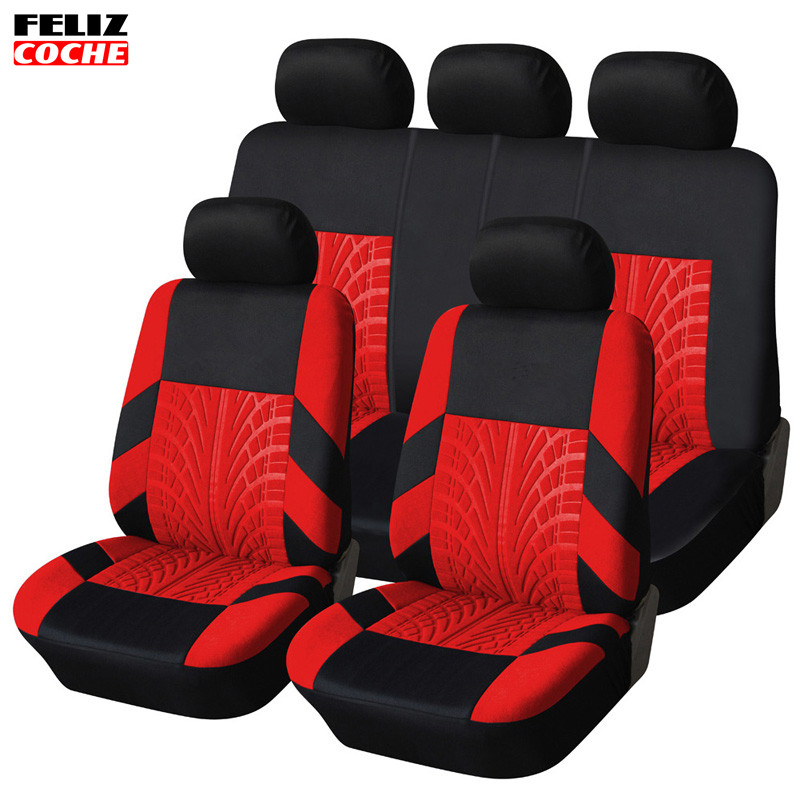 felizcoche embroidery car seat cover set universal fit most cars covers with tire track detail. Black Bedroom Furniture Sets. Home Design Ideas