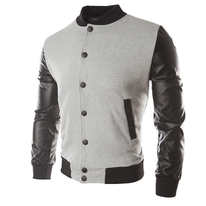 Baseball jacket leather sleeves