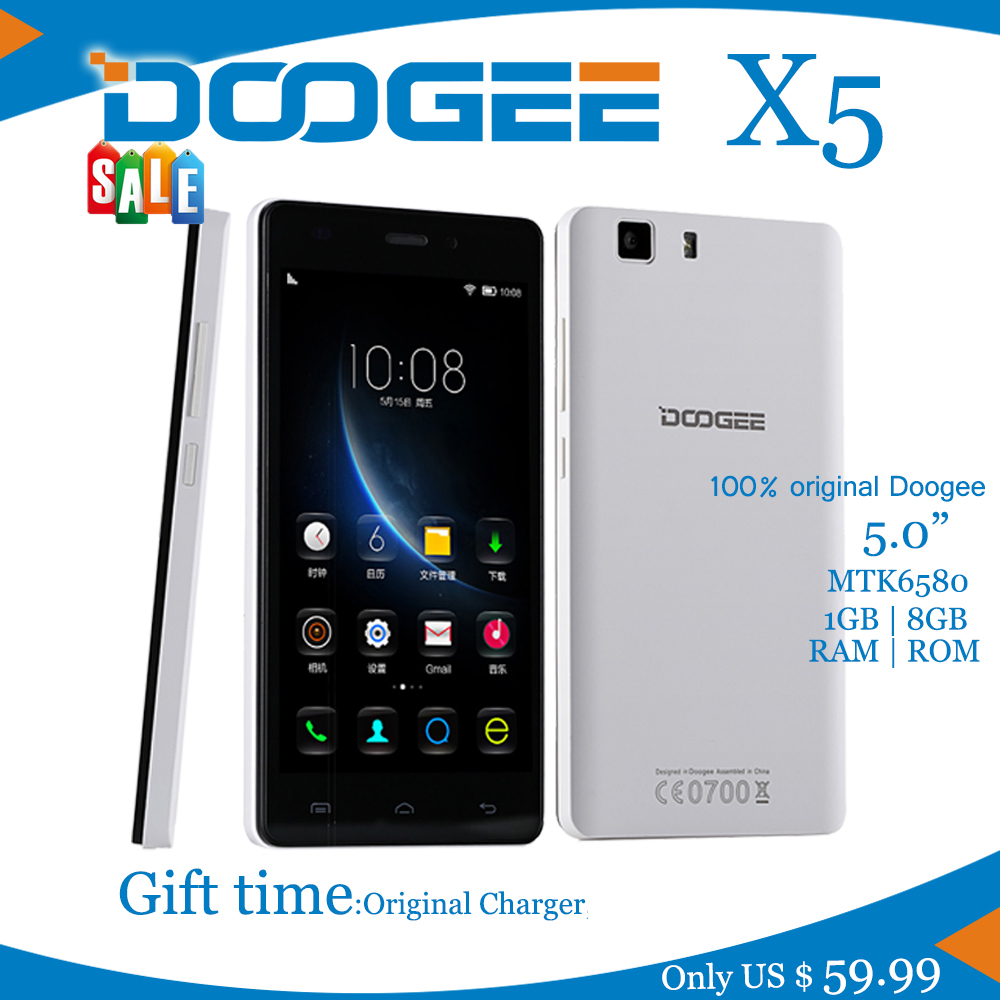NEW Smartphone Doogee X5 MTK6580 Quad Core 1 5GHz 5 0Inch HD 1GB RAM+8GB  ROM Dual SIM WCDMA 8 0MP Camera 2400mAH Android 5 1