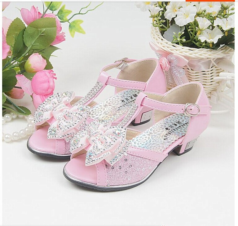 026325186f Free shipping 2015 fashion princess shoes high heels fish head sandals  children shoes girls sandals influx of female models