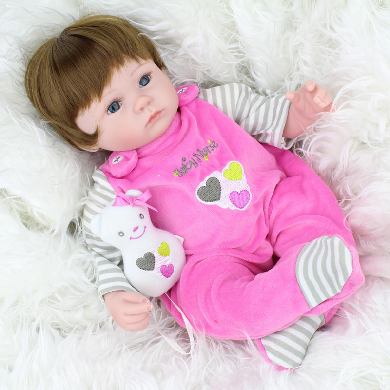 Lifelike 45cm baby reborn dolls silicone reborn babies bonecas children sleeping dolls toys for children