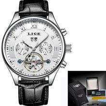 LIGE модные спортивные часы, мужские деловые кожаные часы, мужские часы, лучший бренд, Роскошные автоматические механические часы, мужские ча...(Китай)