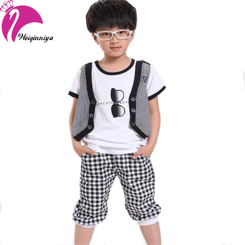 Cool Summer 2016 Boy Sets Fashion Design Pattern Casual Cotton 2 Pieces Striped Sport T Shirts