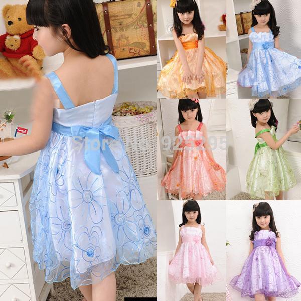 Summer Baby Kid Girl Princess Dress Flower Formal Dress Tulle Wedding Party Sling Dress