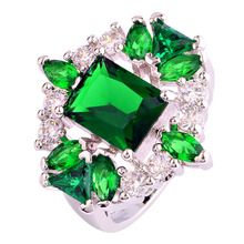 WY 2016 Free Shipping Fashion Gift Nice Emerald Quartz White Topaz Stones Silver Ring For Women