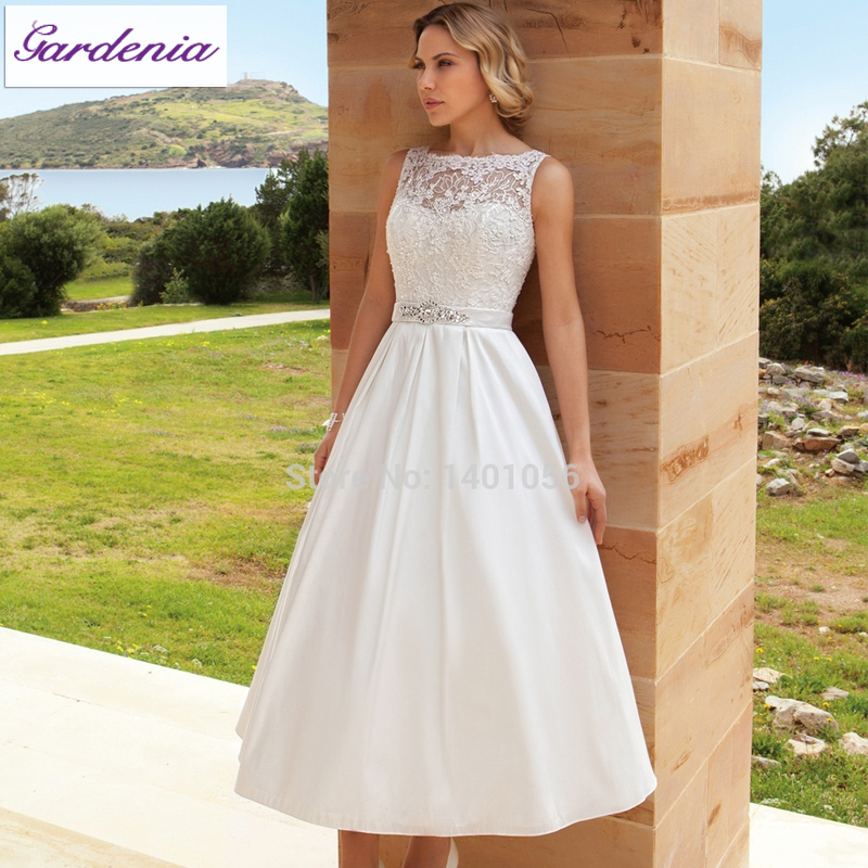 Simple Ankle Length Lace Wedding Dresses White Three: Elegant-Princess-Deetrios-Wedding-Dresses-2015-A-line