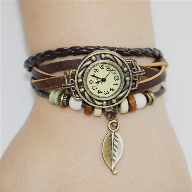 6 цвет мода новые леди женщин женская ретро кожаный браслет дерево лист украшения кварцевые наручные часы наручные часы бесплатная доставка