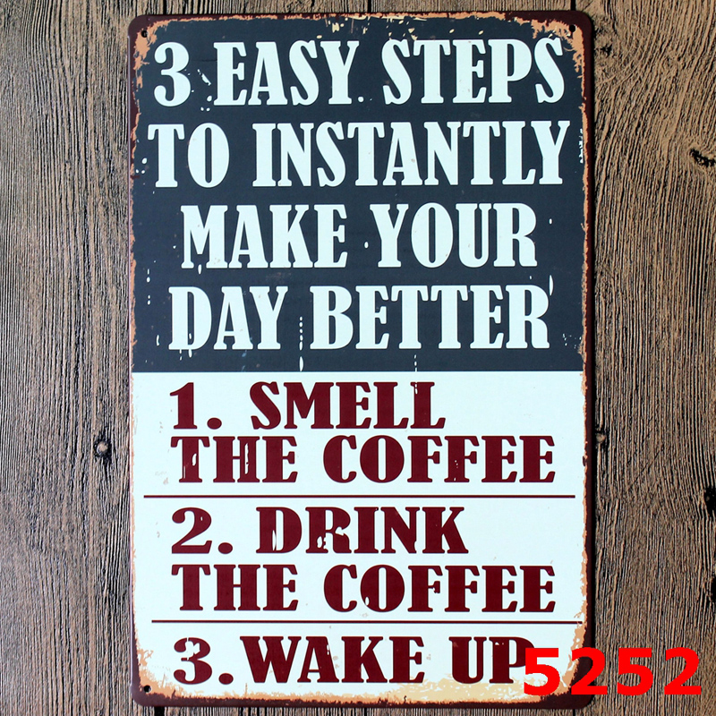 Coffee Metal Tin Sign Coffee Pub Club Gallery Poster <font><b>Tips</b></font> Vintage Plaque Wall Cafe <font><b>Decor</b></font> Plate 8x12 Inches