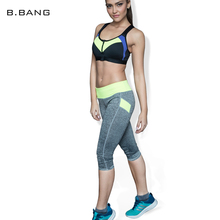 B.BANG Brand Women Sports Leggings Capris Fitness Running Gym Legging Elastic Slim Pants 5 Colors Free Shipping