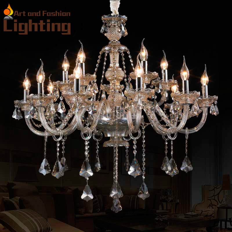 Crystal Chandeliers For A Luxury Hotel In Italy: Metropolitan K9 Crystal 15 Lights Chandelier Candle Luxury