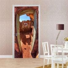 3D наклейки на дверь Вишневое дерево Озеро Лодка пляжные зонты город осенние листья пустыня Лось снег горы Клифф украшение дома паста(Китай)