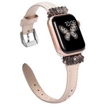 Кожаный ремешок для Apple Watch, 38 мм, 42 мм, iWatch, женский тонкий металлический ремешок с уникальным украшением, ремешок для iwatch Series 4, 3, 2, 1(Китай)