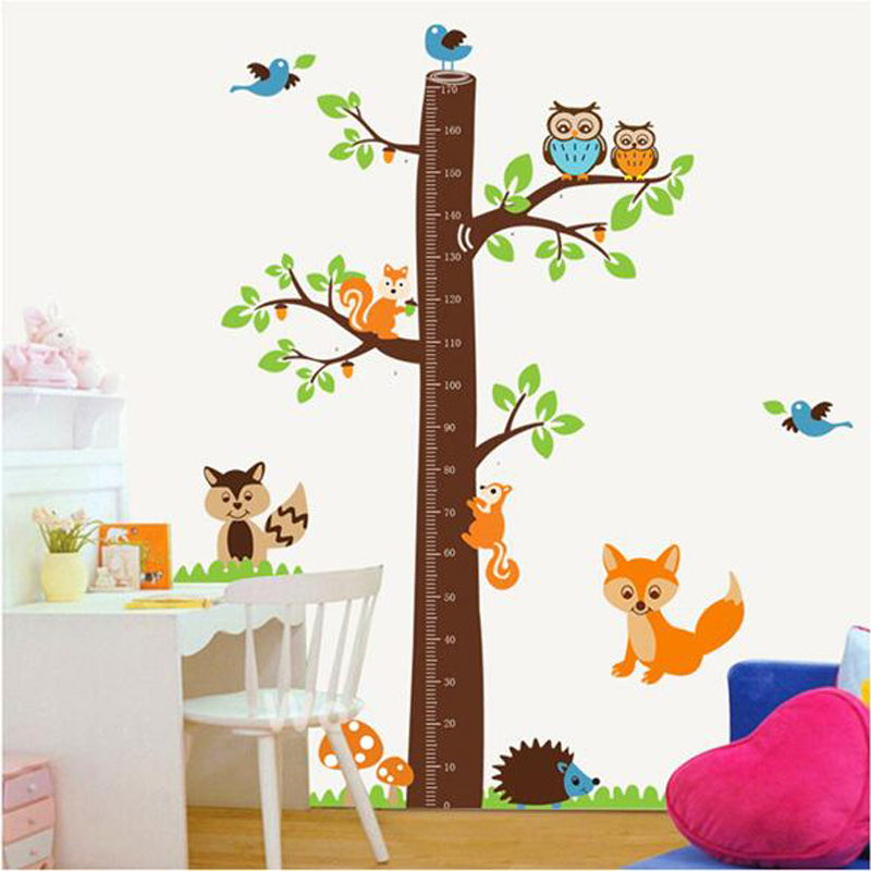 Large Cute Height Measure Wall Stickers for Kids Animal