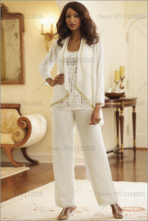 3 Piece Ivory Chiffon Mother Of The Bride Pant Suit With