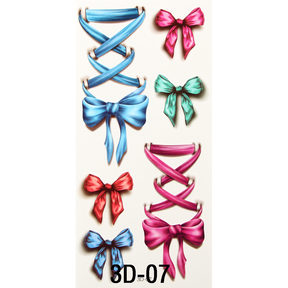 1aa39f7c6fa0f Nice 3D Body Art Sleeve Arm Hand Stickers Glitter Temporary Flash Tattoos  Small Fake Bowknot Bows Waterproof For Body Painting