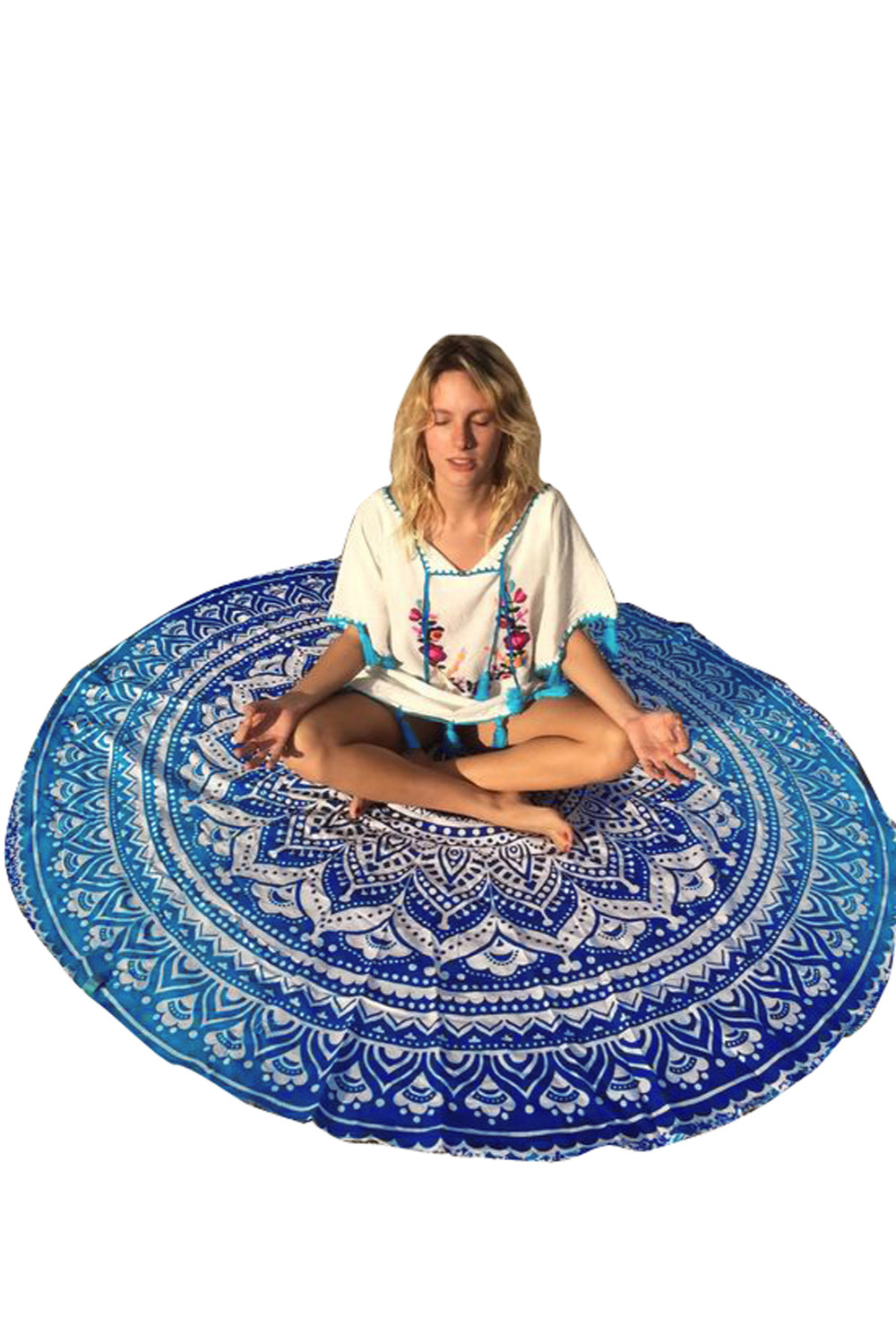 Elephant Indian Tapestry Wall Hanging Peacock Bed sheet Round Tapestry Mandala Perfect gift Picnic/Beach Spread <font><b>Home</b></font> <font><b>Decor</b></font> 42056