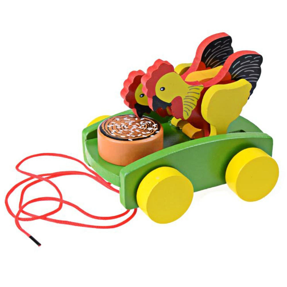 Wooden Cock Pecking Rice Toy Mini Trailer Car Lovely Animal Cock Pull Car  Early Educational Toddler Learning Walk Guide Toy - us663 438a6fcf104