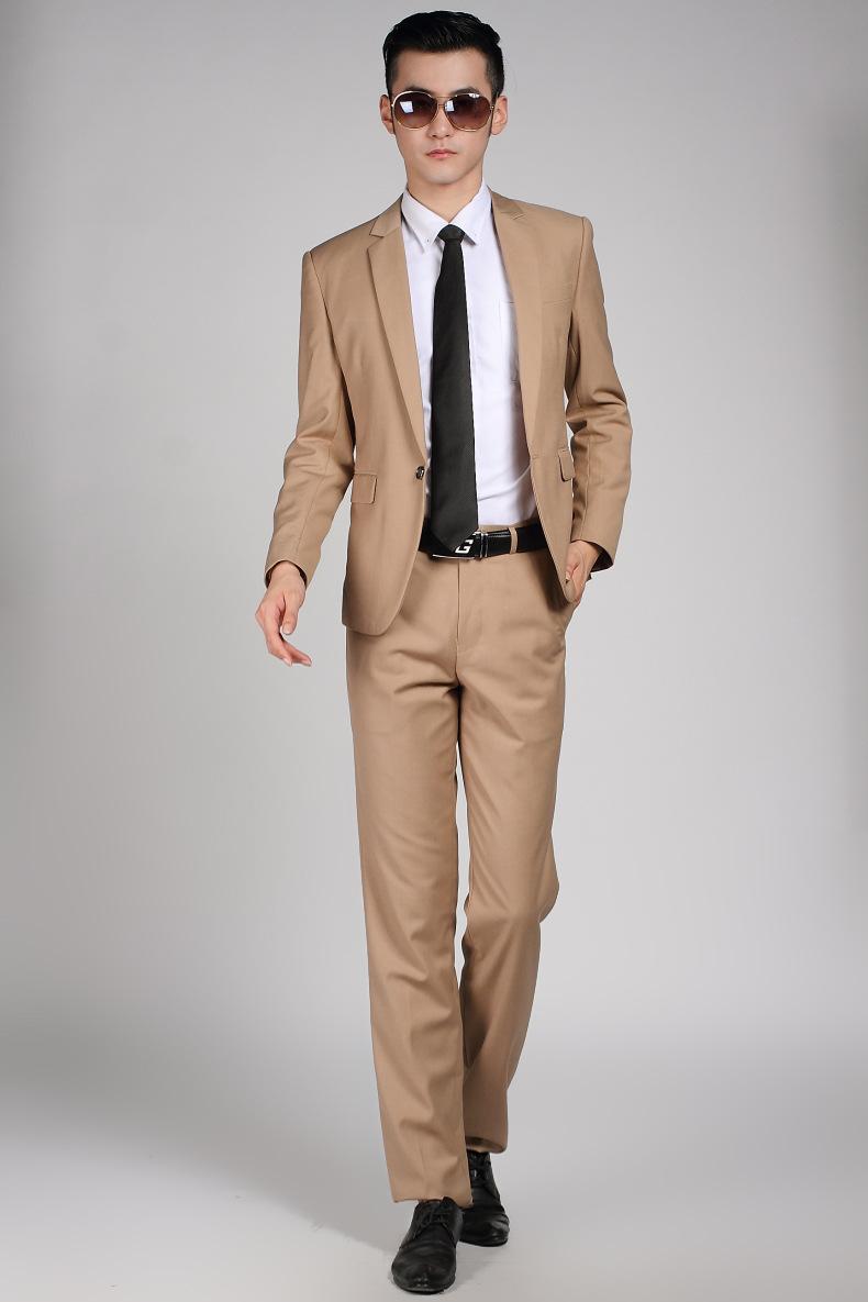 top design special discount size 40 High Quality Men Khaki Suit Wedding Dress Groom Suit Prom Party Suits Set  (Jacket + Pants) Mens Business Casual Suit Terno Noivo
