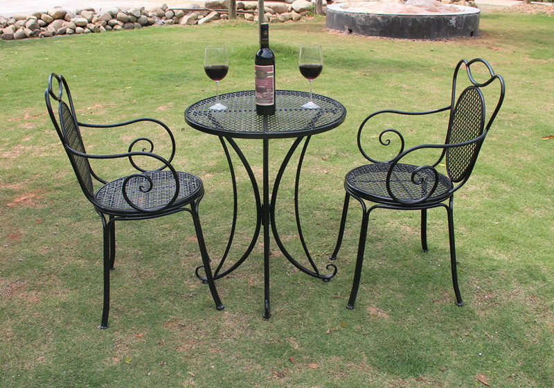 Factory Direct Three Piece Wrought Iron Table And Chairs