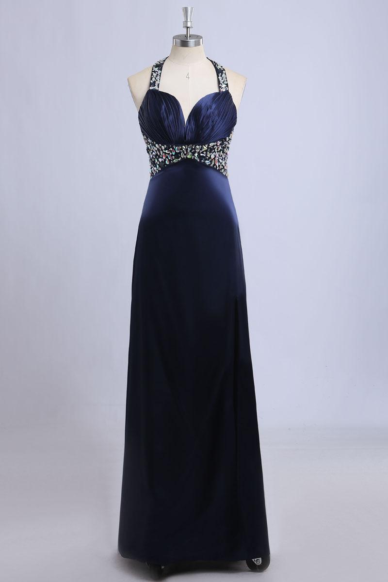 Navy Blue Long Evening Dress A line Floor Length Satin ...