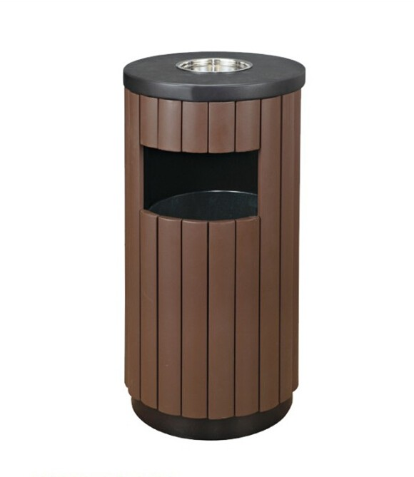Commercial Metal Trash Bin Outdoor Waste Bin With Ashtray