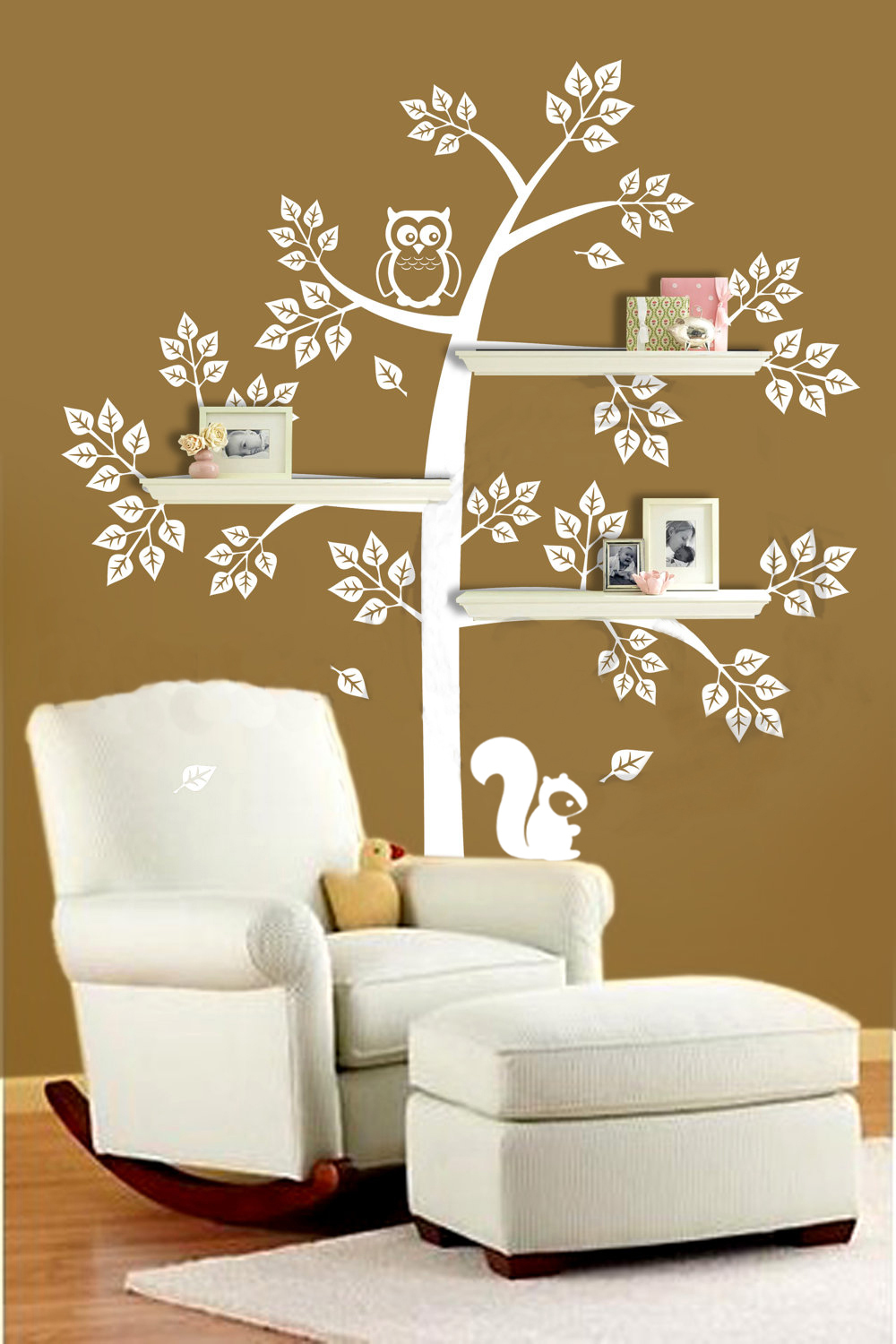 shelve tree wall decal with mommy baby owl bedroom and or playroom wall decor for. Black Bedroom Furniture Sets. Home Design Ideas