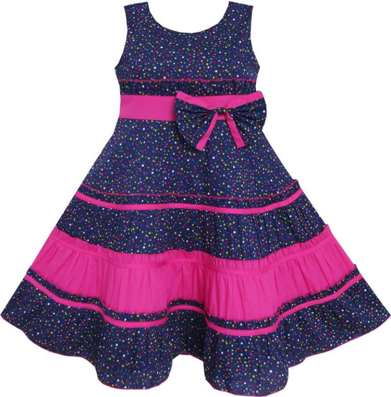 Sunny Fashion Girls Dress Cotton Floral Print Beaded Butterfly Purple