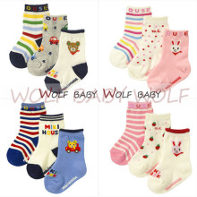 Retail 3pairs pack 1 4years socks cute patterns Kids infant Baby children Unisex Combed Cotton spring